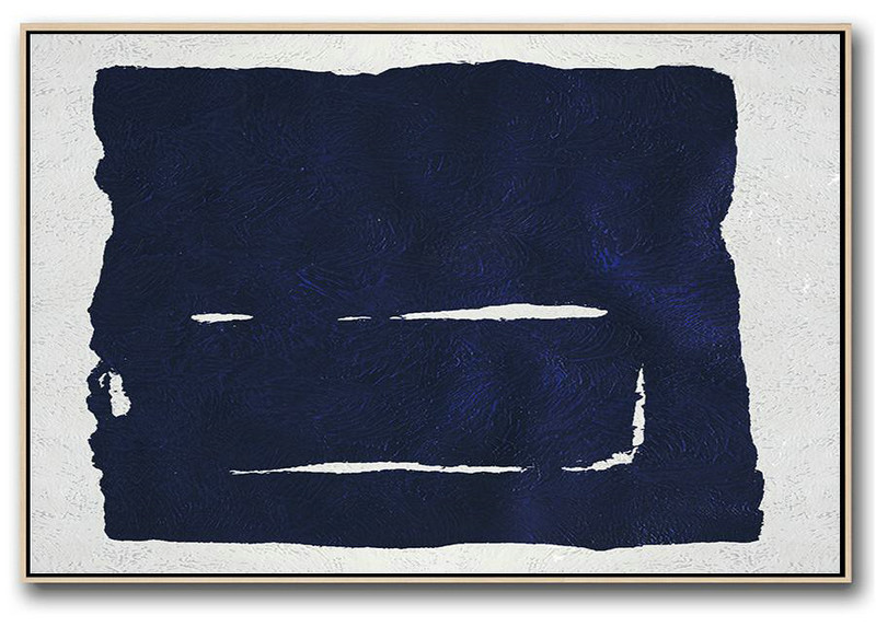 Horizontal Abstract Painting Navy Blue Minimalist Painting On Canvas,Big Art Canvas #A1N8